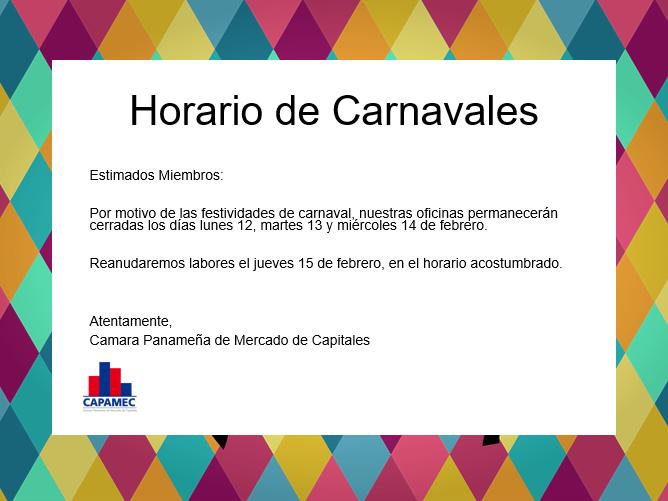 Horario Carnavales 2018