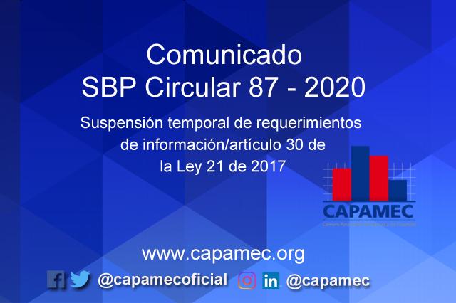 Comunicado SBP Circular 87 – 2020