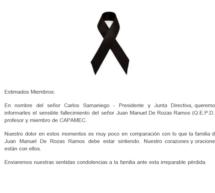 Información – Lamentable pérdida de nuestro miembro y profesor Juan Manuel De Rozas Ramos